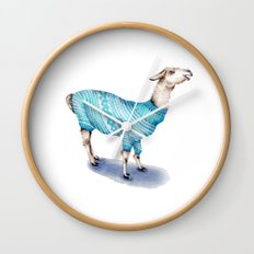 Llama in a Blue Sweater Wall Clock