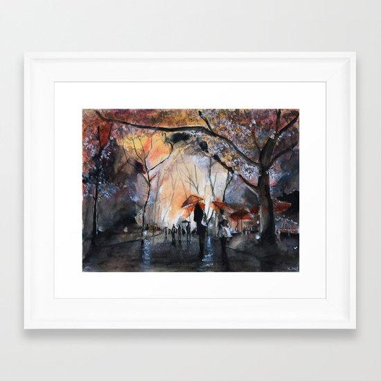 Autumn rain - watercolor Framed Art Print