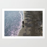 SEA MAN BEACH Art Print