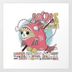 Aqua cat_Muka Art Print