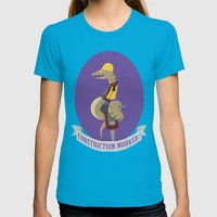 Constriction Worker! Womens Fitted Tee Teal SMALL