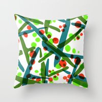 Green beans, peas in pods and tiny tomatoes Throw Pillow