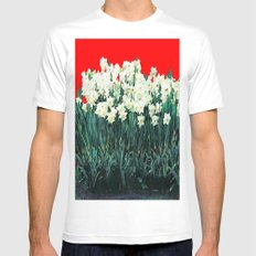 Red Whites Daffodils/Narcisus Spring Blue-Green Garden SMALL Mens Fitted Tee White