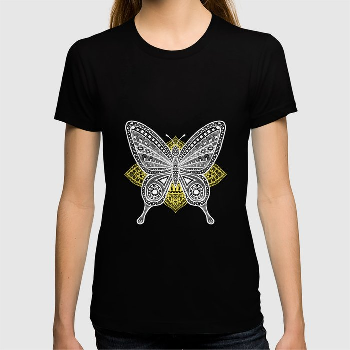 The Butterfly Watercolor Illustration on T-shirt by Haidi Shabrina
