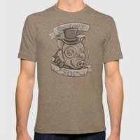 Gentleman Pig (S6 Tee) B… Mens Fitted Tee Tri-Coffee SMALL