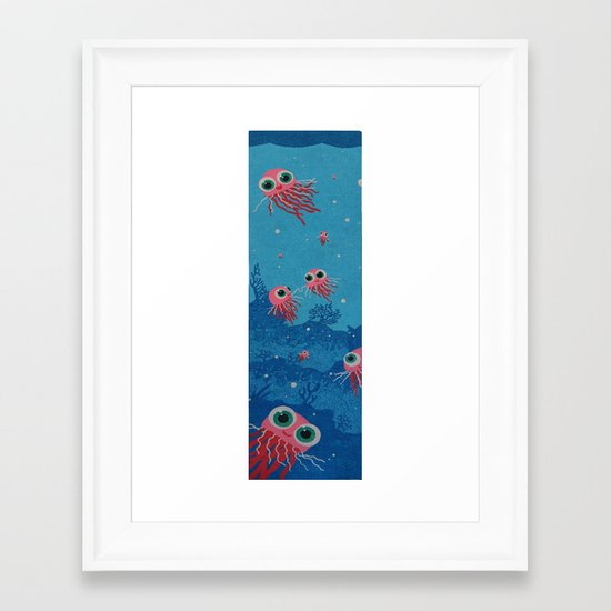 jelly fish under  water in the sea no empty spaces Framed Art Print
