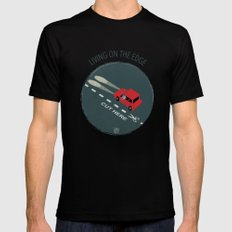 Livin' on the edge SMALL Mens Fitted Tee Black