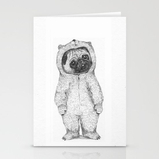 Winter pug Stationery Card