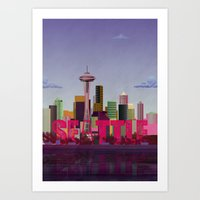 seattle Art Prints featuring Seattle by WyattDesign