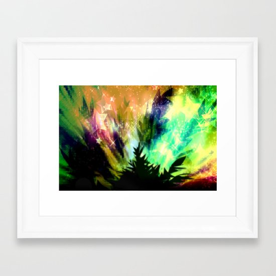 Summer night in nature. Framed Art Print