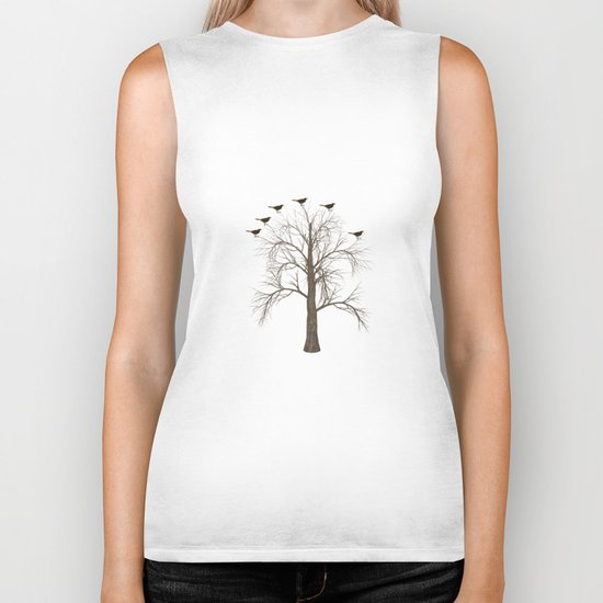 Tree with Birds Biker Tank