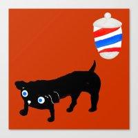 Hairdresser's black dog Canvas Print