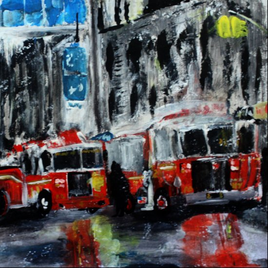 New York Fire Trucks Fine Art Acrylic Painting  Art Print