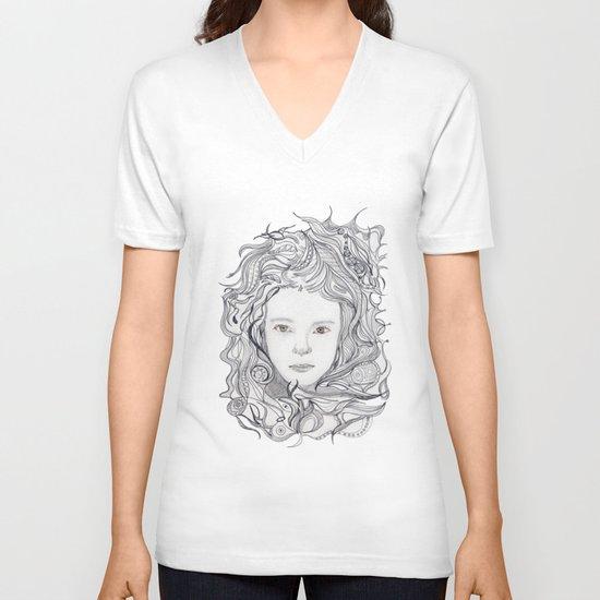 girl - curly doodle hair V-neck T-shirt