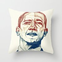 Red, White And Obama Throw Pillow