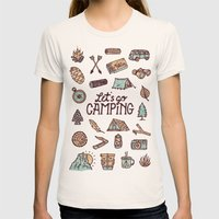 Lets Go Camping Womens Fitted Tee Natural SMALL