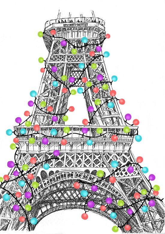 Paris Eiffel Tower Holiday Lights Multi Art Print