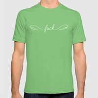 Flying Fuck - White on Black Mens Fitted Tee Grass SMALL