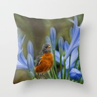 Robin In Flowers Throw Pillow