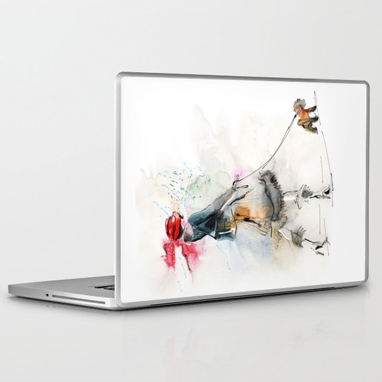 Stylish woman with small dog  Laptop & iPad Skin