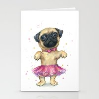 Cute Pug Puppy Dog Water… Stationery Cards