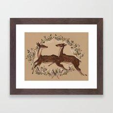 Jumping Deer Framed Art Print