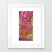 Waves in Red Framed Art Print