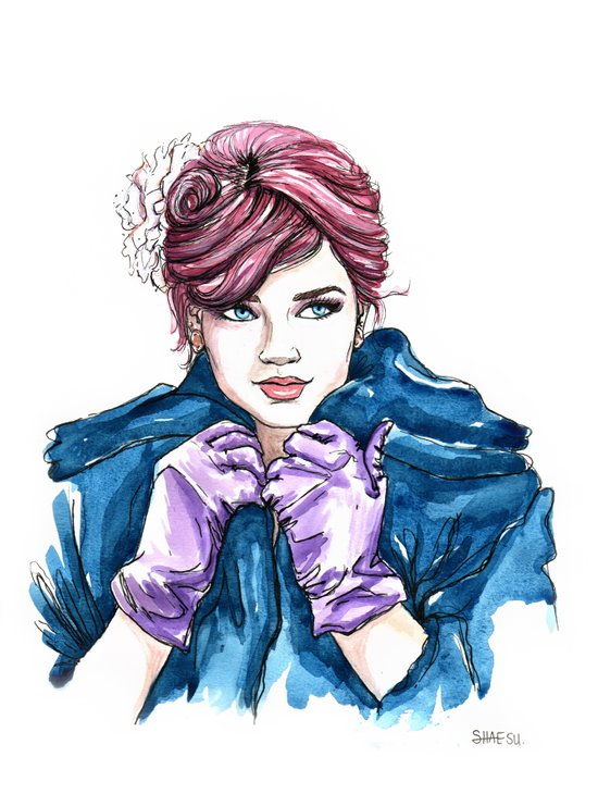 Girl With the Purple Gloves Art Print