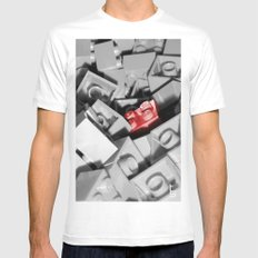 Red Brick White SMALL Mens Fitted Tee