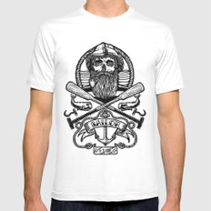 SAILOR SKULL SMALL White Mens Fitted Tee