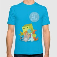 We Are All Happy Mens Fitted Tee Teal SMALL