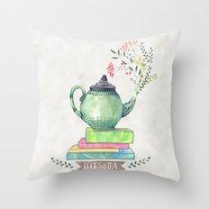 Books & Tea Watercolor Throw Pillow