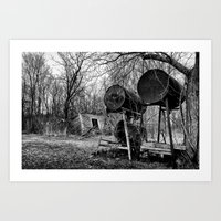 Fuel Drums and Fallen House Art Print