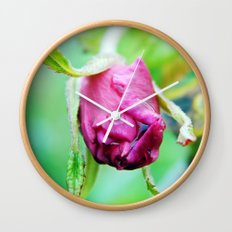 Rolled-up Wet Rose Wall Clock