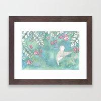 Hummingbird's Garden: In the fuschias Framed Art Print