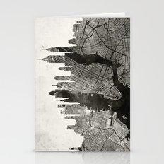 New York Skyline + Map #… Stationery Cards