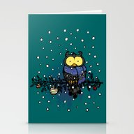 Owl In The Snow Stationery Cards