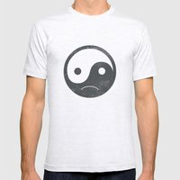 Yin Yang Smiley ;-( Mens Fitted Tee Ash Grey SMALL