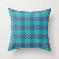 Pixel Plaid - Ice Sheet Throw Pillow