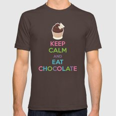 Keep Calm And Eat Chocol… Mens Fitted Tee Brown SMALL