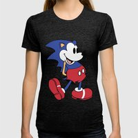 Mickey x Sonic Womens Fitted Tee Tri-Black SMALL