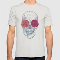 Double Flowers Skull Mens Fitted Tee Silver SMALL