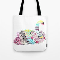 Patterned Swan Tote Bag