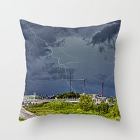 Storm Near New Orleans Throw Pillow