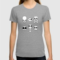 All skulls, all the time. Womens Fitted Tee Tri-Grey SMALL