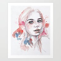 Singing of passion, watercolor Art Print