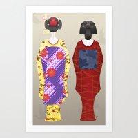 Geisha Maiko Fall Art Print