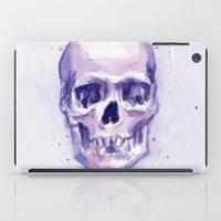 Skull Watercolor Purple iPad Case