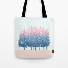 pink and blue trees Tote Bag