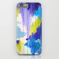WINTER DREAMING - Jewel Tone Colorful Eggplant Plum Periwinkle Purple Chevron Ikat Abstract Painting iPhone 6 Slim Case